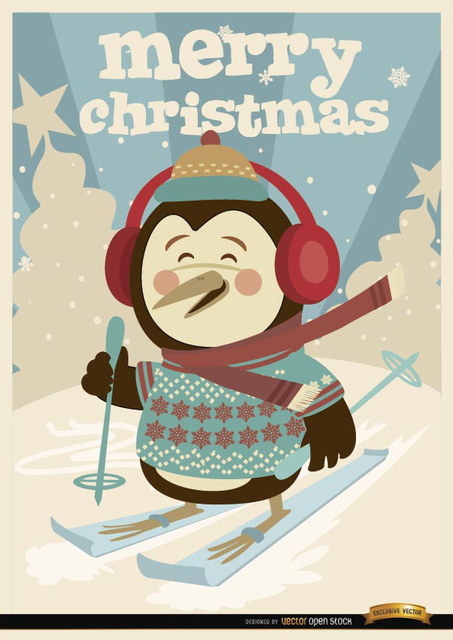 Free Christmas Penguin winter ski background
