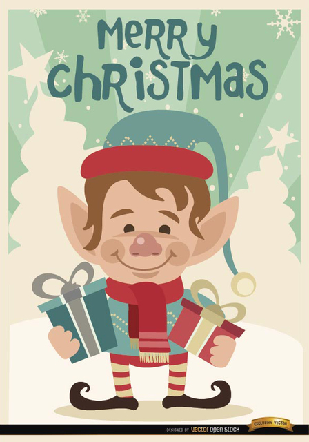 Free Merry Christmas Elf background