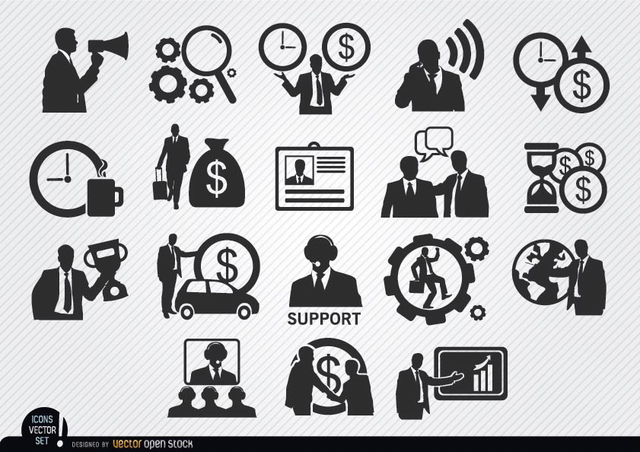 Free Vectors: Businessman icons set | Vector Open Stock