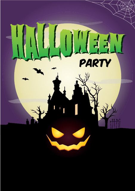 Free Full Moon Hunted Halloween Poster Template