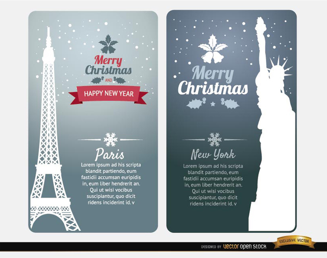 Free Merry Christmas cards Paris New York