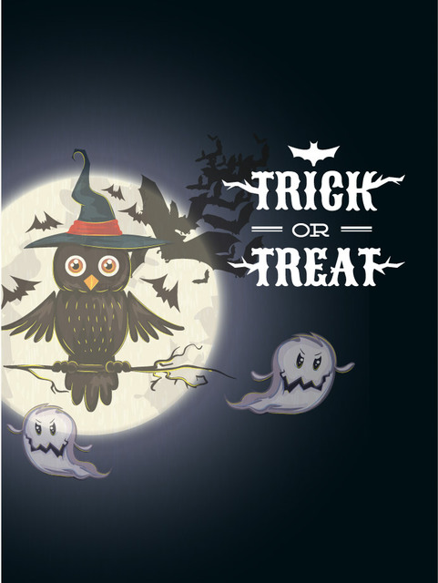 Free Halloween Poster with Owl Sitting on a Tree