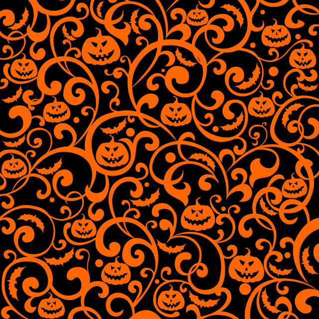 Free Swirling Floral and Pumpkin Texture Background