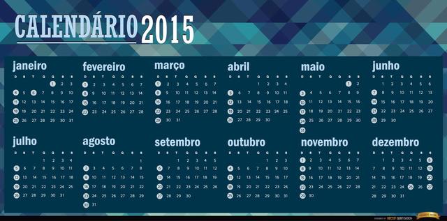 Free 2015 polygonal blue calendar Portuguese