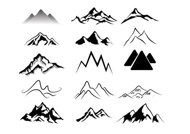 Free Black & White Abstract Mountains Pack