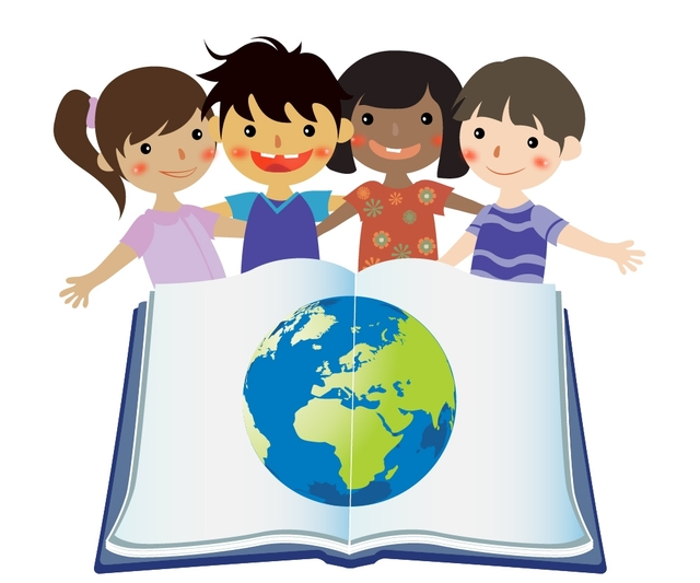 Free Group Studying Kids with Globe in Open Book