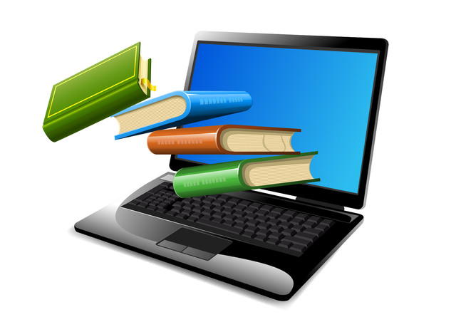 Free Vectors: Books Floating on Opened Laptop   Free Vectors