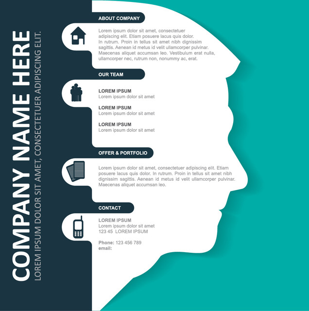 Free Corporate Infographic Template on Man Face