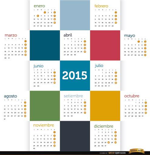 Free 2015 Colored squares calendar Spanish