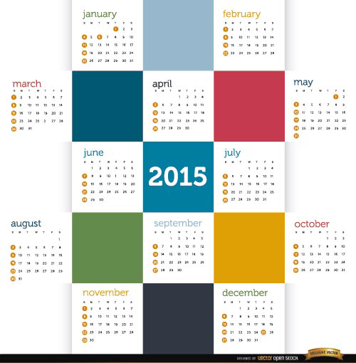 Free 2015 Colored squares calendar