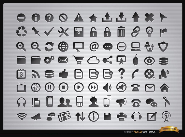 Free Vectors: 88 Web menus and media icons  | Vector Open Stock