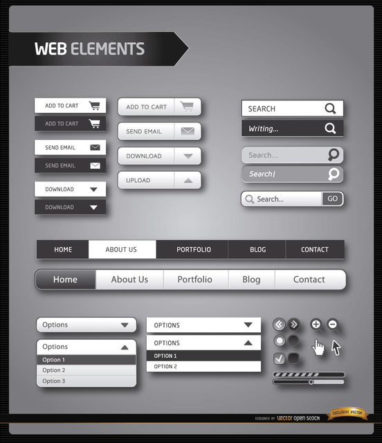 Free Website menu elements black and white