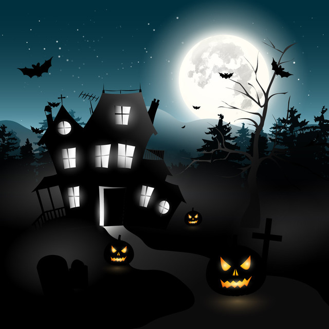 Free Vectors: Halloween Hunted House & Trees with Graveyard | CGvector