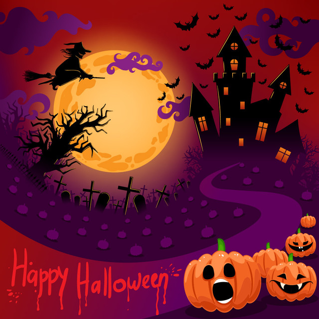 Free Halloween Night Creepy Purple Poster Template