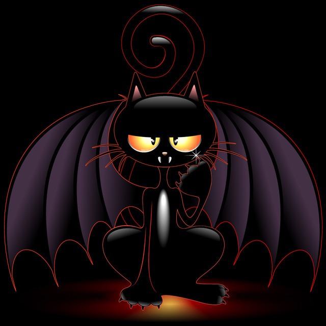 Free Vectors: Bloody Halloween Witch Cat with Wings | CGvector