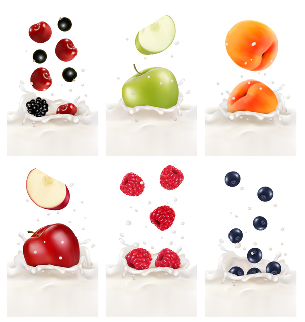 Free Realistic Fruits in Splashed Milk