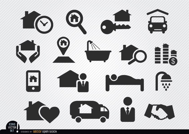 Free Vectors: Real estate selling process icons | Vector Open Stock