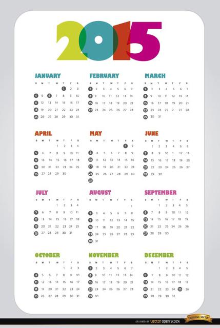 2015 simple calendar