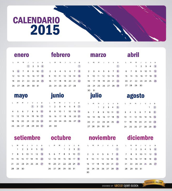 Free 2015 artistic brushstrokes calendar Spanish