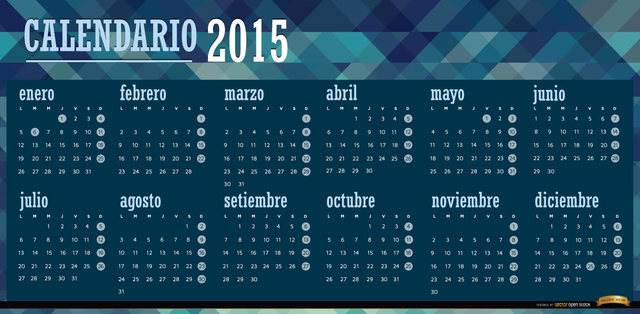2015 polygonal blue calendar Spanish