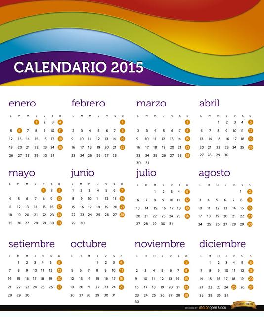 Free 2015 Rainbow calendar Spanish