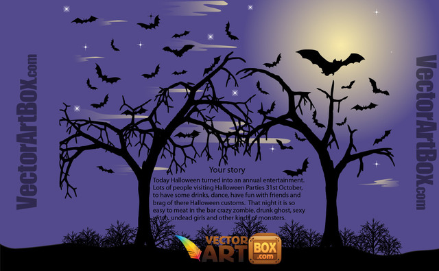 Free Halloween Poster with Hunted Trees & Bats