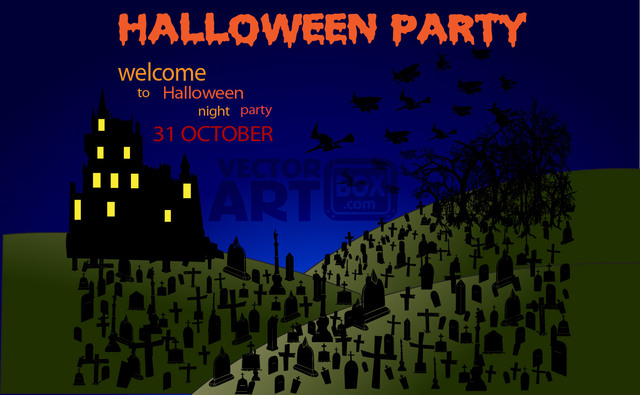 Free Vectors: Graveyard Halloween Party with Hunted House & Tree | Artem