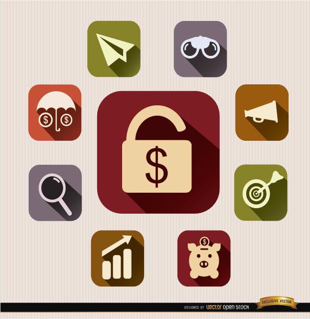 Free Squared financial icons set