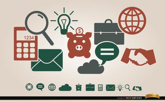 Free Vectors: Business financial icons menu | Vector Open Stock