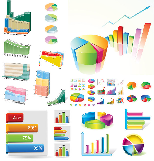 Free Creative Statistic Charts Infographic Set