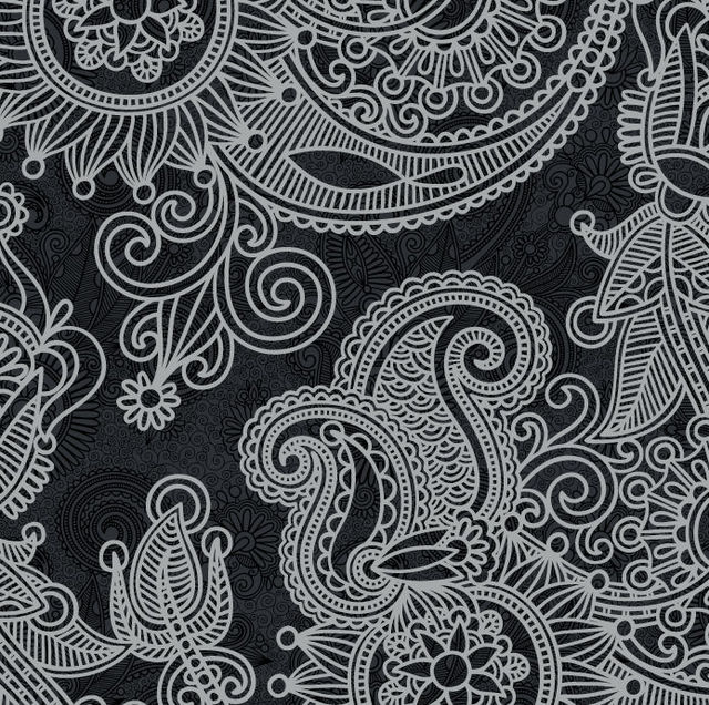 Free Abstract Floral Vintage Black & White Pattern