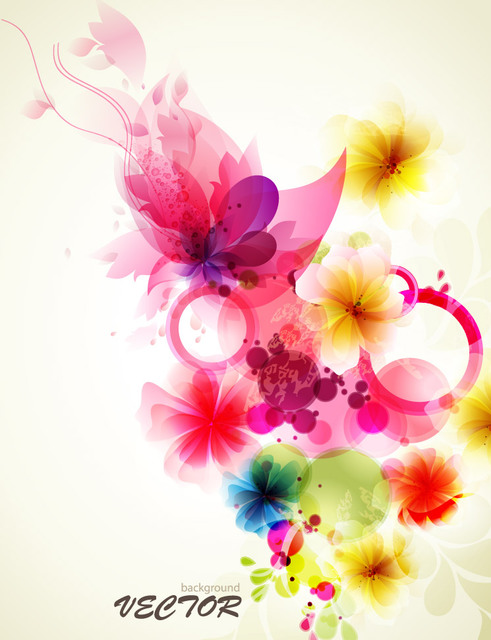Free Fancy Abstract Floral Colorful Fluorescent Background