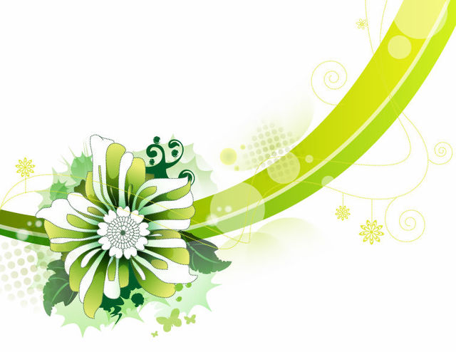 Free Abstract Green Flower & Curves Background