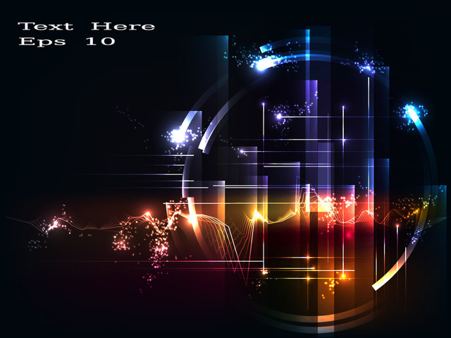 Free High Tech Circles Lines & Glares Background