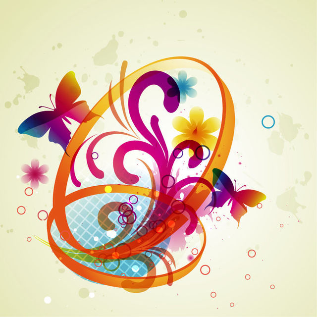 Free Abstract Butterflies with Floral Swirls & Rings