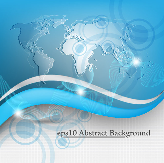 Free Global Technology Blue Map & Waves Background
