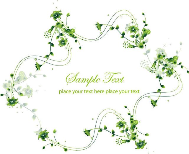 Free Creative Swirling Floral Frame Green Card