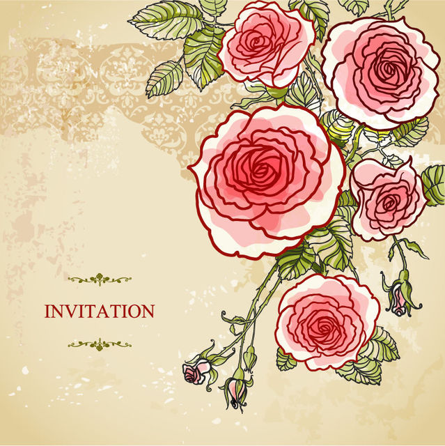Free Abstract Roses Vintage Wedding Invitation