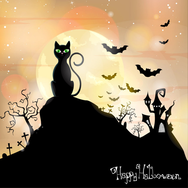 Free Cat Sitting on Hill Hunted Halloween Background