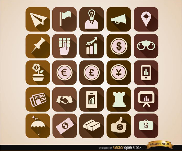 Free Squared business icons set