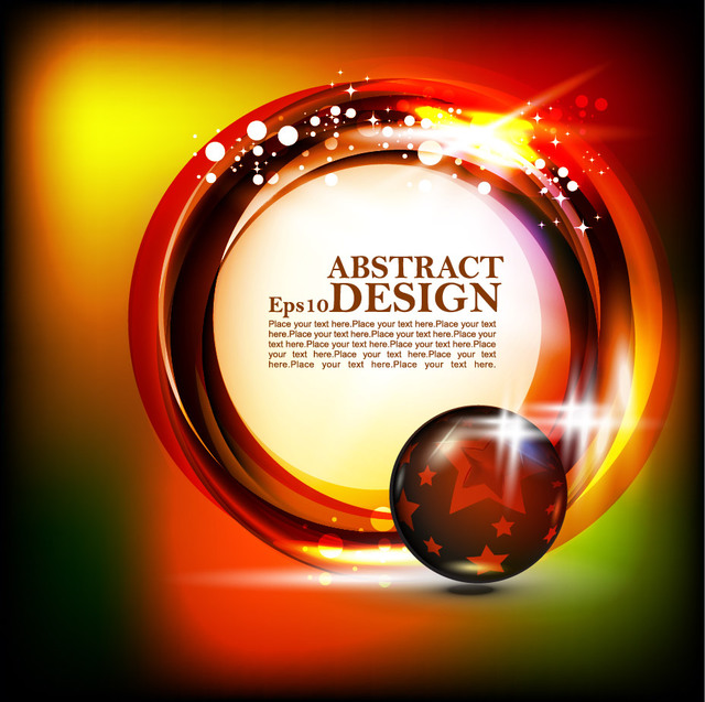 Free Shiny Circular Banner on Colorful Background