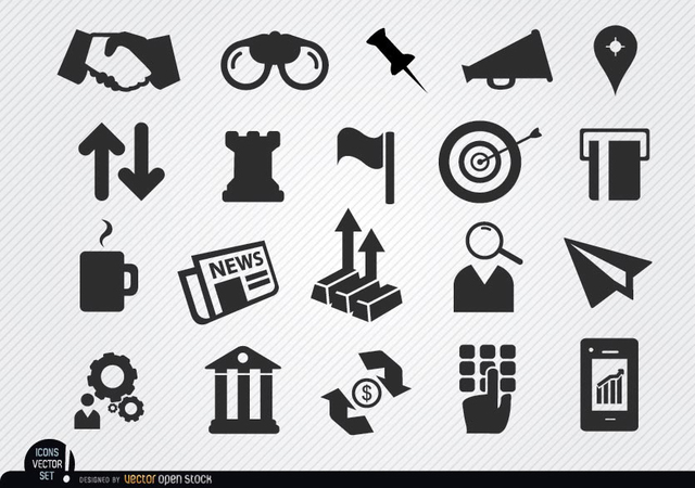 Free Vectors: Monetary business icons set | Vector Open Stock