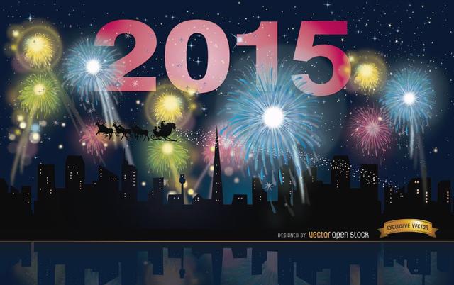 Free 2015 Year Fireworks skyline