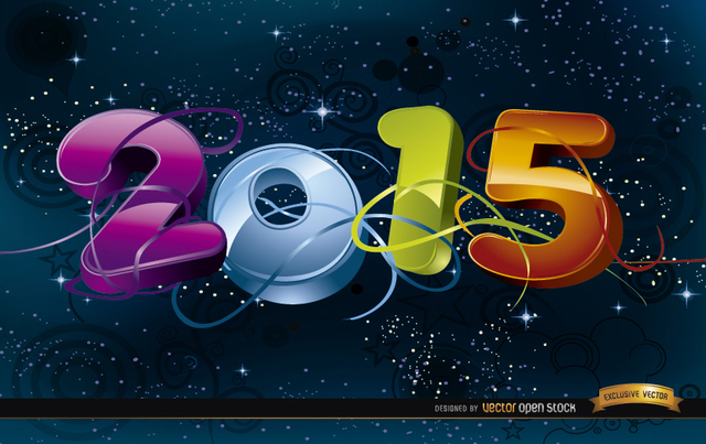 Free 2015 Celebration in space background