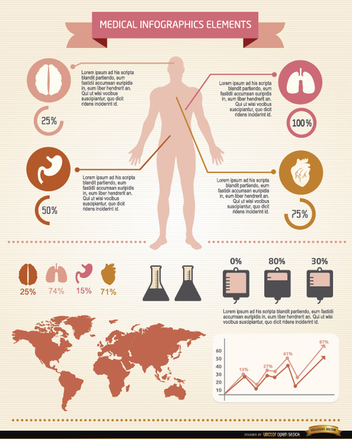 Free Vectors: Men medical infographics elements | Vector Open Stock