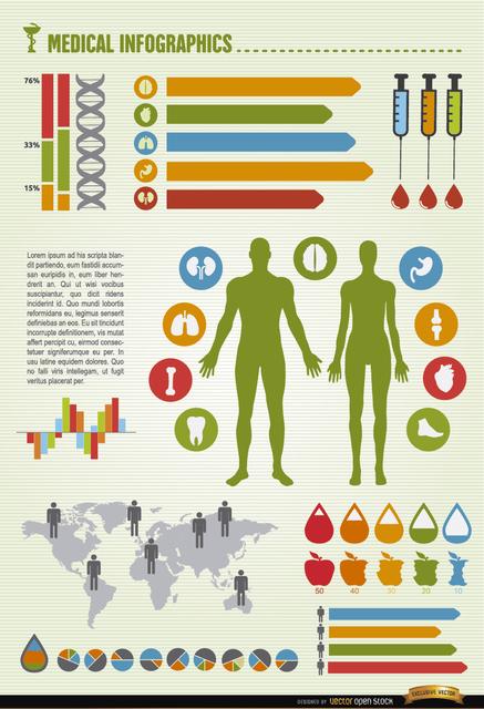 Free Vectors: Men and women health world infographics | Vector Open Stock