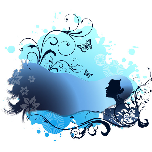 Free Spa Themed Blue Girl with Swirling Floral