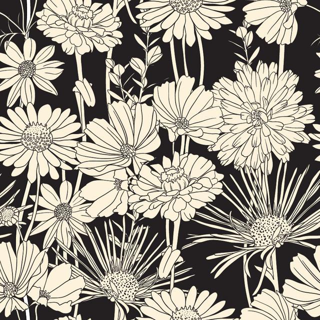 Free Vintage Brown Flower Seamless Pattern on Black