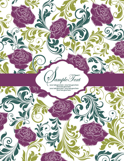 Free Floristic Vintage Pattern Template Card