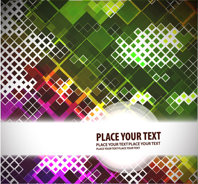 Abstract Mosaic Squares Colorful Background